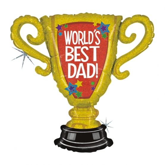Silberfolienballon World's Best Dad Trophy 84 cm